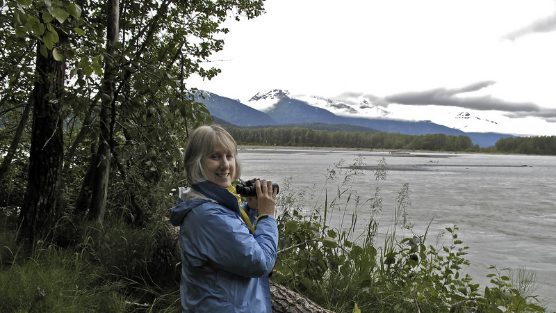 Pam at the Chilkat Bald Eagle Preserve. From October through January, world's largest congregation of American Bald Eagles, up to 4,000, gather along the banks of the Chilkat River to feast on spawning salmon.