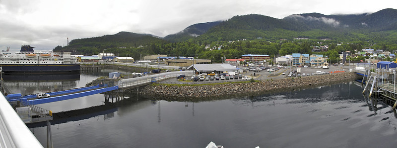 Ketchikan Ferry Terminal from the MV Columbia. We docked only long enough to let off a few cars. Ketchikan, Alaska.