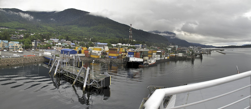 We docked at Ketchikan for 20 minutes. Alaska Ferry and Inter-Island Ferry Terminals from the MV Columbia. Ketchikan, Alaska.