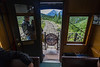 Looking out of the last car on the White Pass and Yukon Railway.