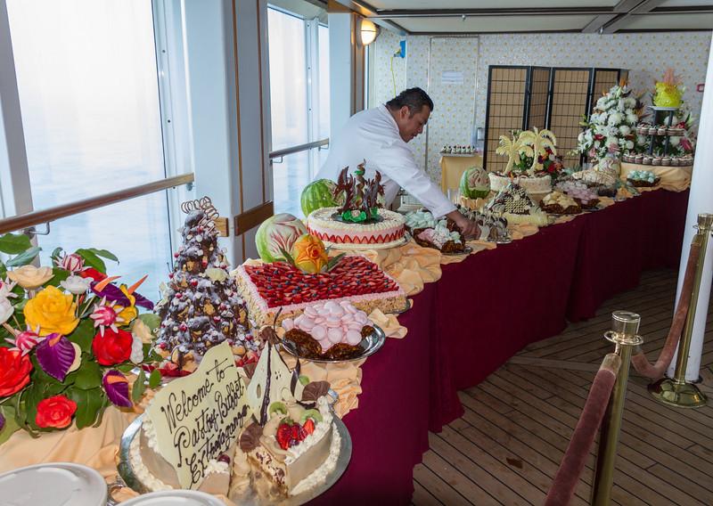 Starting end of the dessert buffet. Everything you see is edible, nearly all fruits and sweets. It was FINE.
