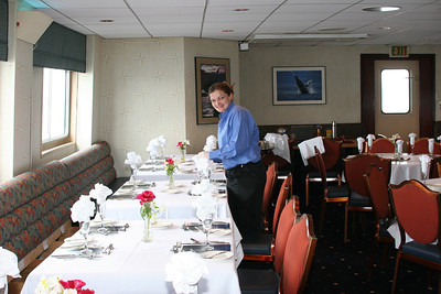 Crystal setting up for Captain's Dinner (on the last night)