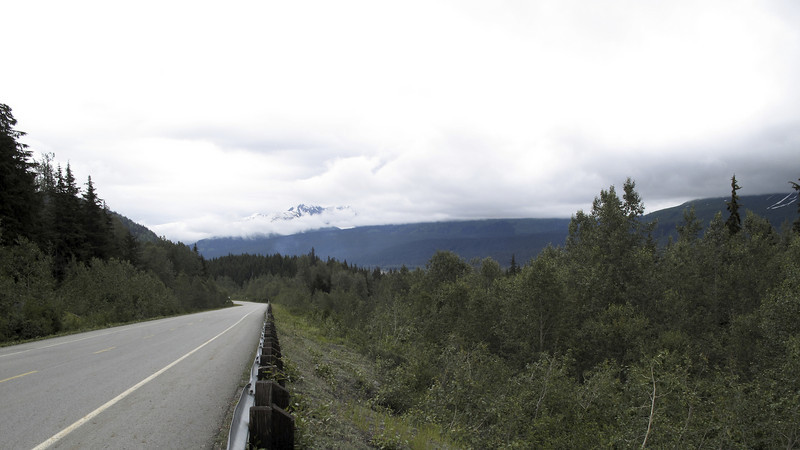 Our views on Haines Hwy were muted by low clouds. The US/Canadian border is 40 miles from downtown Haines.