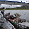 Loading the boat that will take us to Copper River Lodge.