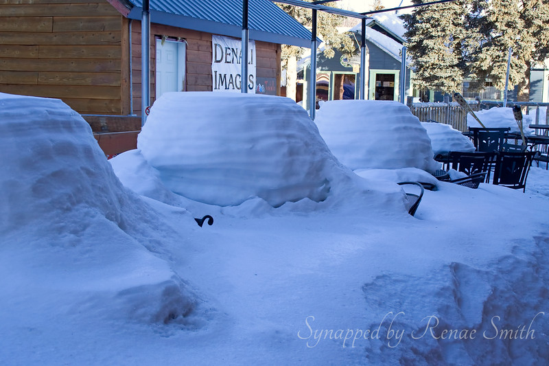 Dinner for -- how many?  Outdoor seating for a restaurant in Talkeetna.  I can't even fathom this much snow!