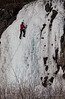 Ice climbers work their way up the frozen waterfalls along the Seward Highway south of Anchorage