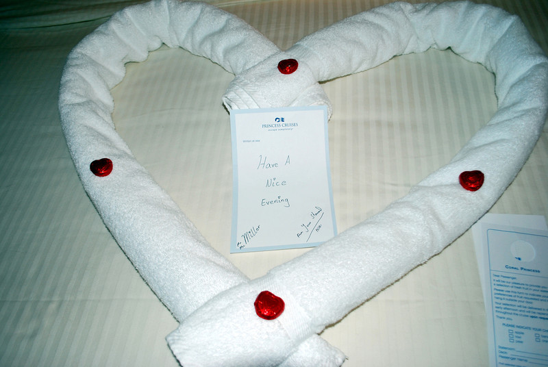 Our steward left these nice towel decorations for us nightly with chocolates...