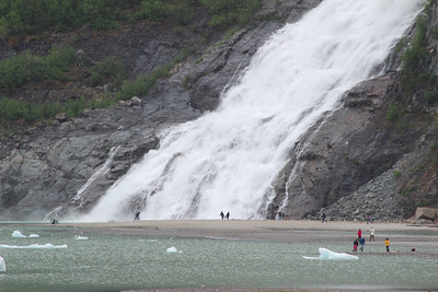 Juneau, the Mendenhall glacier was very accessible by foot.  You could walk past this waterfall to get there.