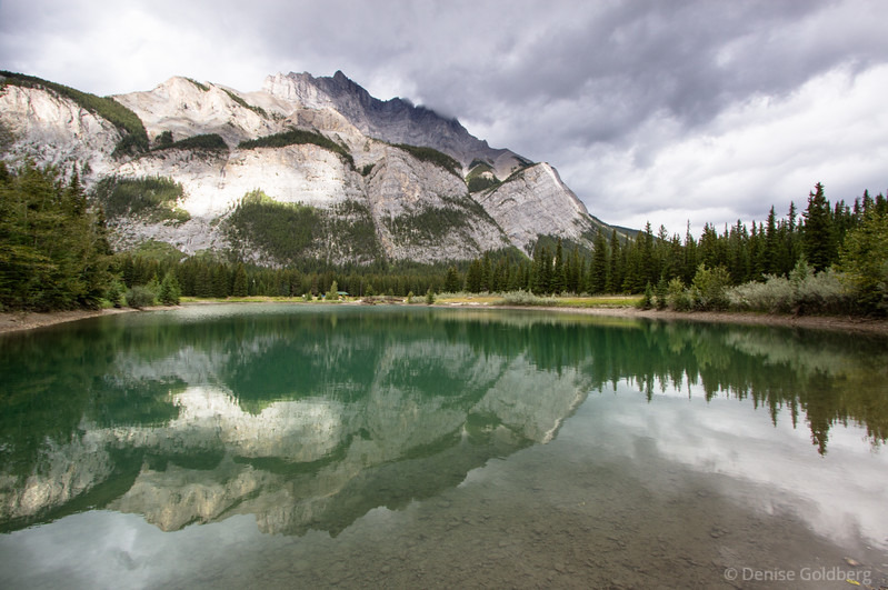 mirrored mountains and trees, Cascade Pond