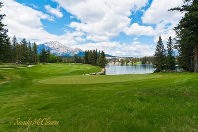The golf course at Jasper Park Lodge overlooks Lac Beauvert.