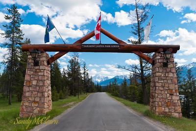 Mount Edith Cavell as seen through the main gate at Fairmont's Jasper Park Lodge.