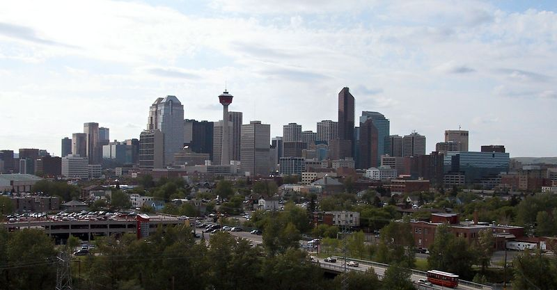 Downtown Calgary.  The Stampede exhibition grounds are just to the left of this image.<br /> <br /> --- 2004-06-09 --- 6805_CRW_01a ---