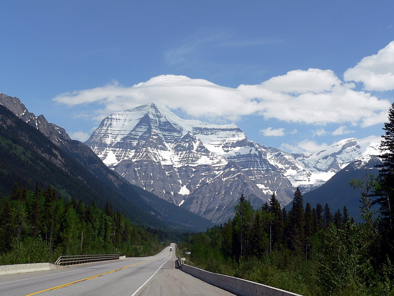 Mt. Robson<br /> <br /> Highest mountain in the Canadian Rockies at 3954 m (12,972 feet).  But... not the highest mountain in BC.  That would be Mount Waddington at 4,016 metres (13,176 feet).<br /> <br /> Hmmm... Everest is twice as high.  Look up, way up.<br /> <br /> .