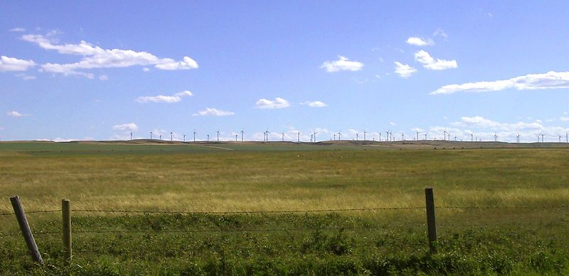 Wind farm near Fort McLeod.  These windmills run all the way to Pincher Creek, about 45 km west of this location.<br /> <br /> ---- 3007_CRW_02b ----