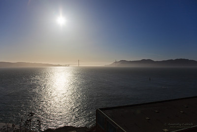 Golden Gate Bridge and San Francisco Bay at sunset, San Francisco, California