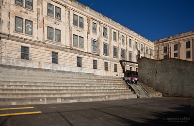 View of the exercise yard at Alcatraz Prison, San Francisco.