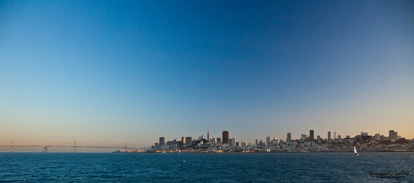 San Francisco city skylines at sunset