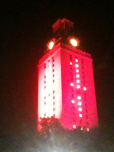 The UT campus tower, all lit up for graduation!  Hook em horns!