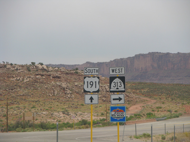 Hwy191 to Moab, Hwy313 to Canyonlands and Dead Horse Point State Park. This intersection is a stone throw from Arch View RV Park.