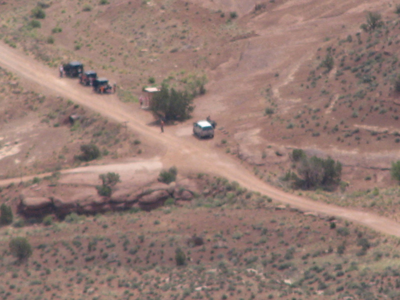 From our eagle eyed perch I was able to zoom in on these four rim runners resting at the intersection of Shafer Trail, Potash Rd and the White Rim Tail.