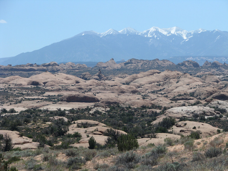 La Sal mountains dressing up the Petrified Dunes area.
