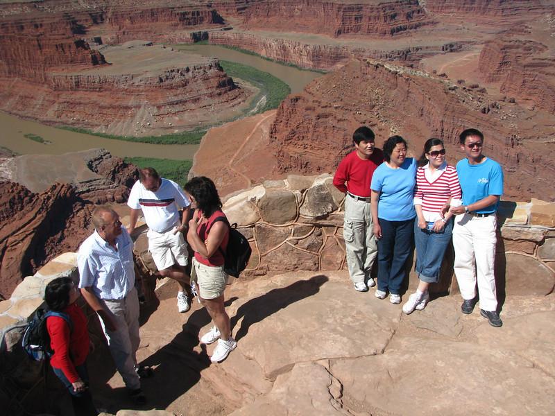 Colorado River below with Potash Road with onlookin visitors.
