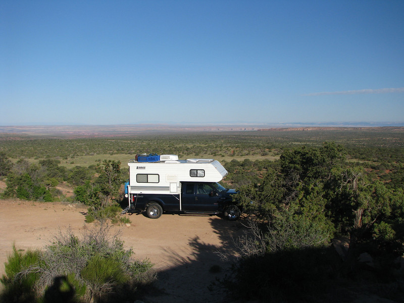 June08,2008. This is one of the reason why I enjoy Truck Camper so much, being able to get into areas that few RV's can. A few clouds drift slowly across the Moab sky with unlimited visibilty.