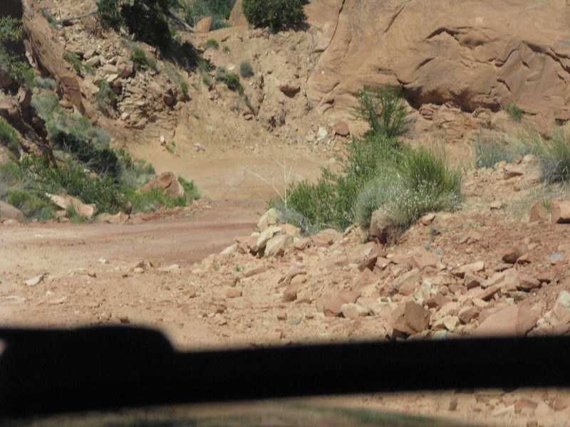 Down into the bowels of Long Canyon and a tight turn ahead.