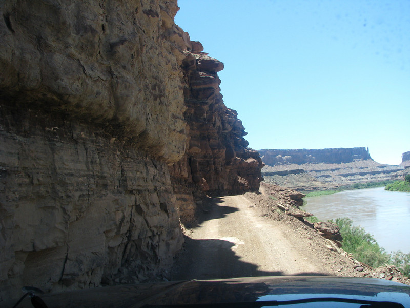 Here we go! Driving the TC on the WRT with a wall of rock on one side and a drop off into the Green River on the left.