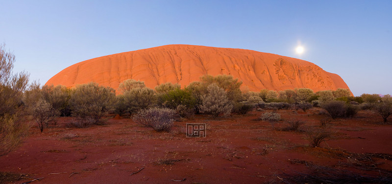 Uluru at sunrise, with Moon (5 shots)