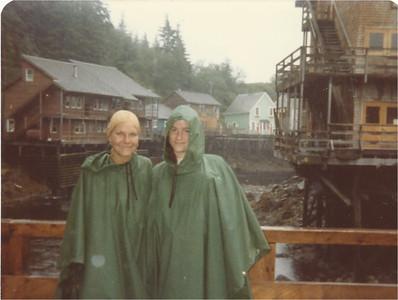 Joan and Alice in rainy Ketchikan