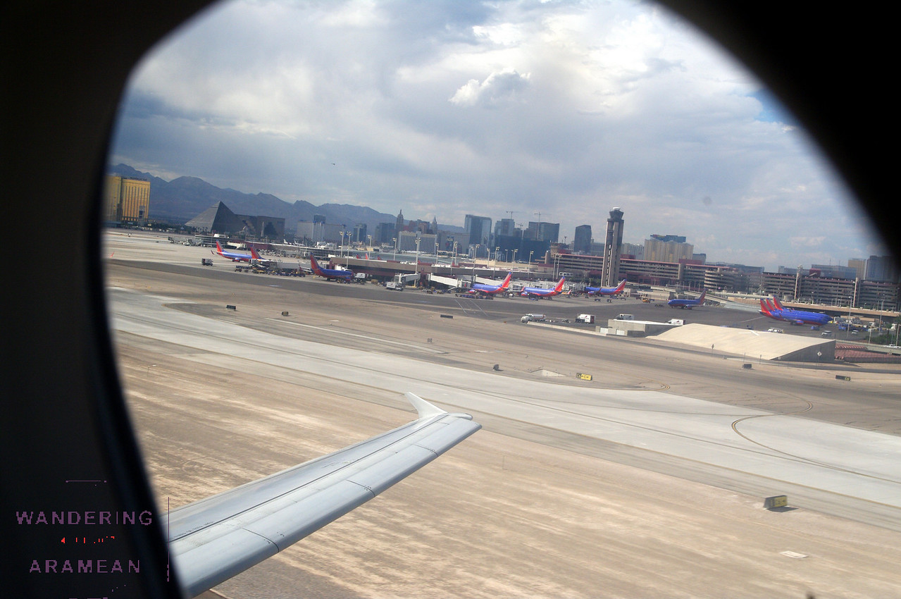 Just off the ground in Vegas; airport and the Strip behind us