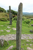 Ogham stone and cross. Dingle Peninsula, Ireland