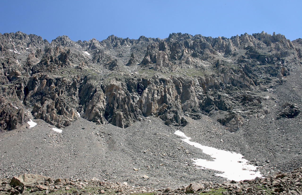 Rugged ridge, talus and snow