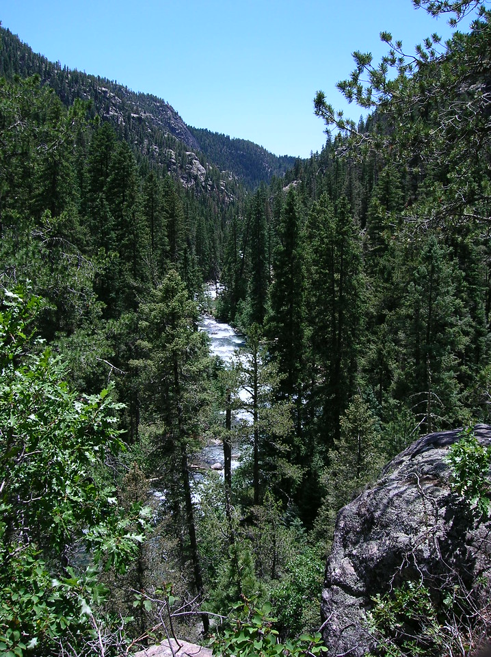 Colorado green, Colorado blue with a rushing mountain stream.