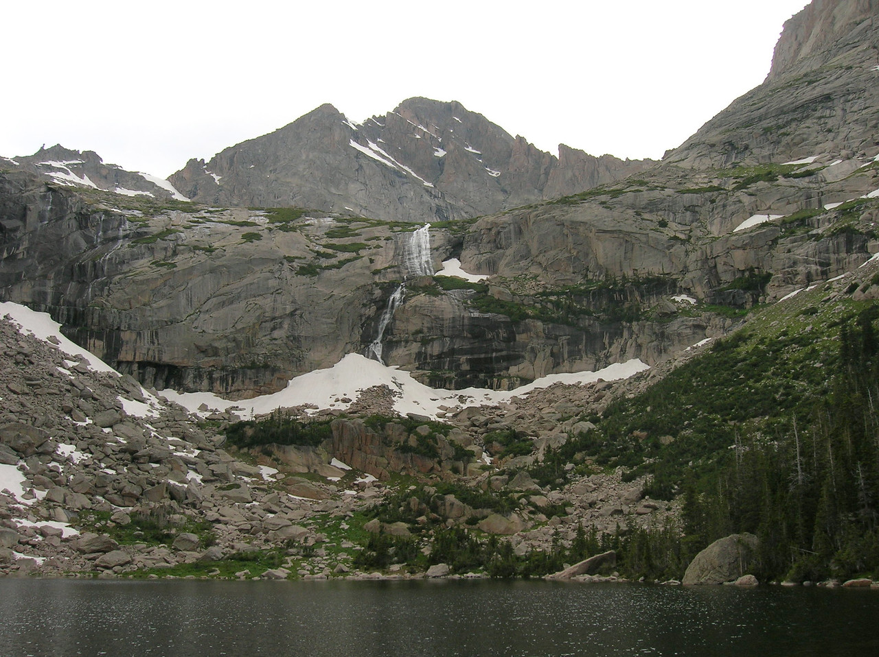 Waterfall, cascade, pond and peak