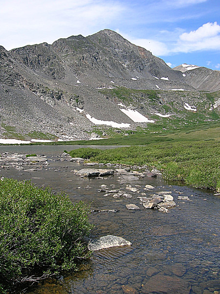Clear mountain stream at the base of the peaks