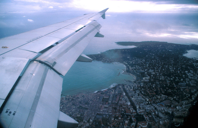 Air flight over southern France. Preparing for a landing at Nice.