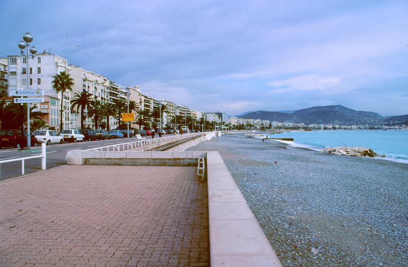 Promenade des Anglais and beach, Nice France.