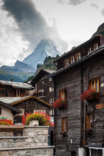 Old style wooden houses, Zermatt, Switzerland