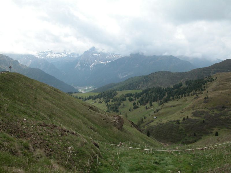 Looking towards Canazei from Passo Sella