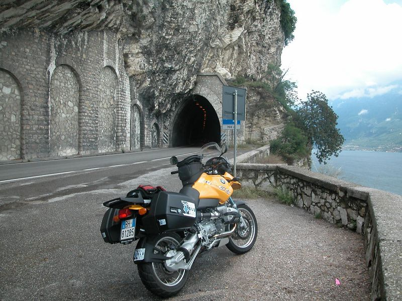 Rented GS beside Lago di Garda, heading up the west side