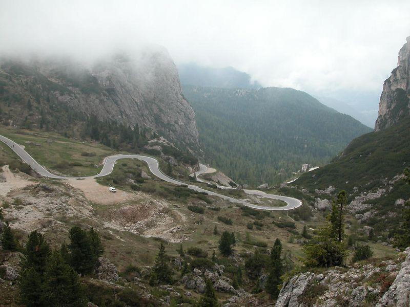 Looking down from Passo Valparola towards Passo Falzarego