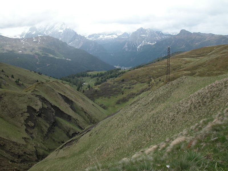 View towards Canazei from Passo Sella
