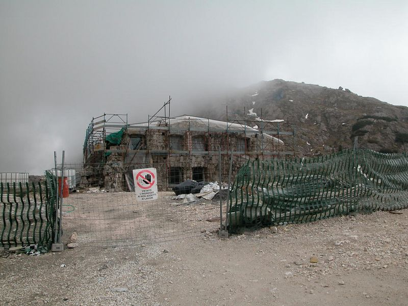 An old WW I fort on Passo Valparola being turned into a restaurant or something.<br /> (Still under construction in 2003)
