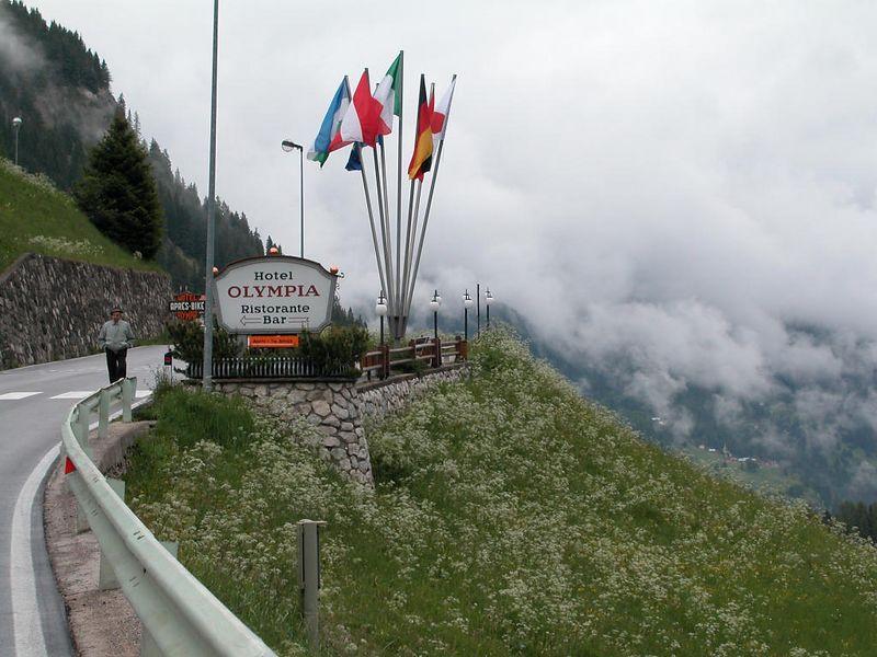 Hotel overlooking Arabba. Skiers in winter, bikers in summer.