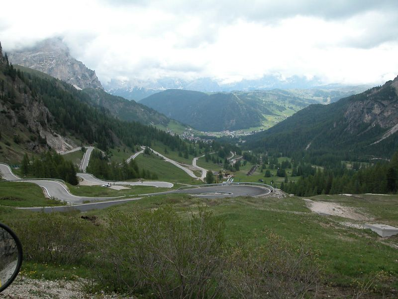 Looking down to Corvara in Badia from Passo Gardena