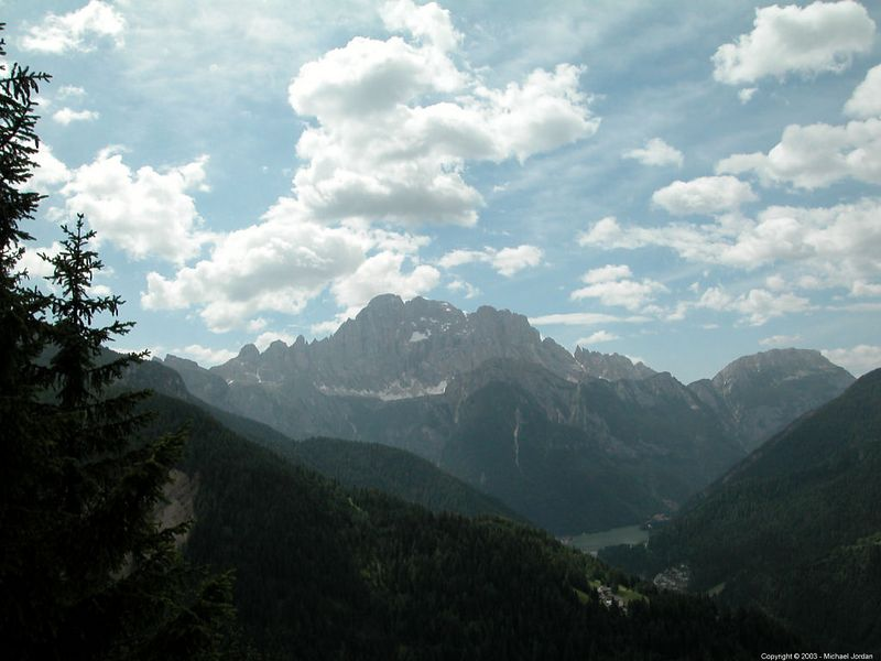 """Looking south from a """"Belvedere"""" above Caprile. Lago di Alleghe in the distance."""