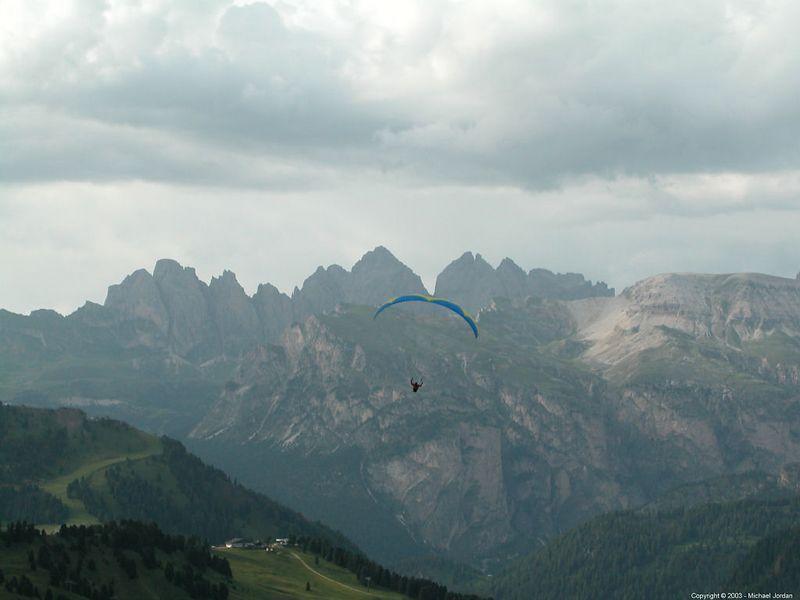 Paraglider(s) at Passo Sella