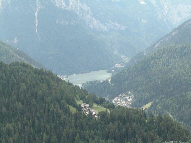 Telephoto shot of Lago de Alleghe